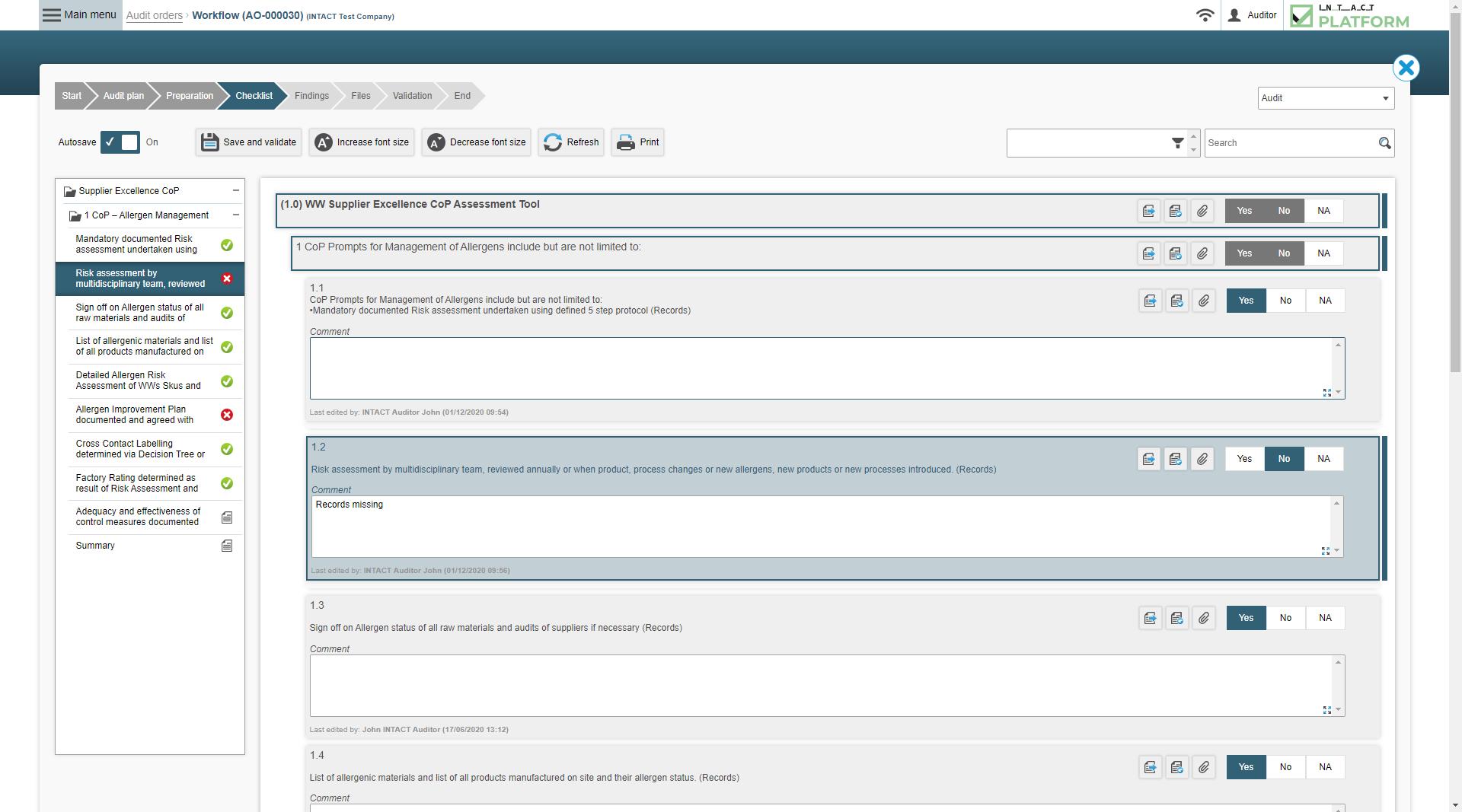 Intact Platform Checklist