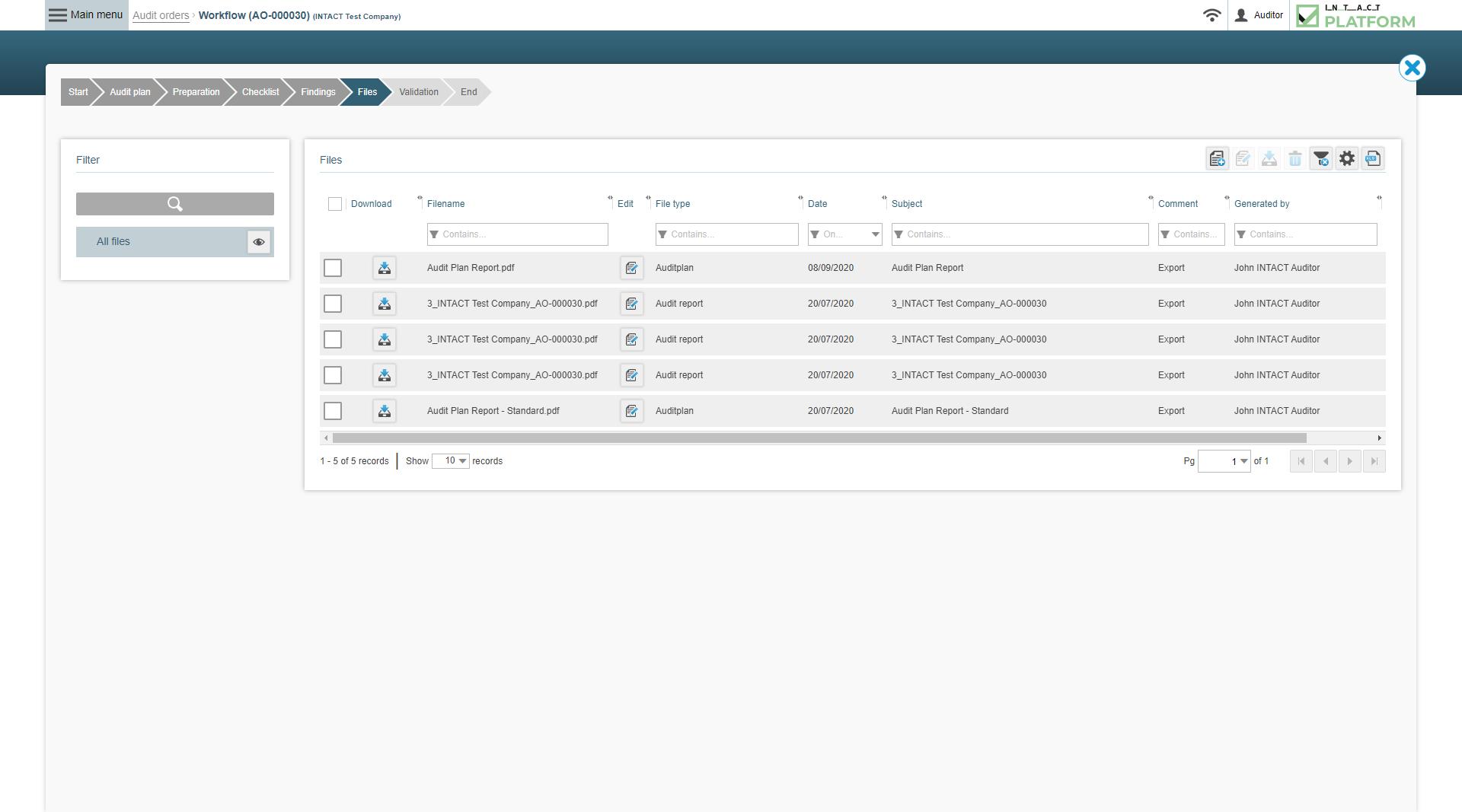 Intact Platform Files